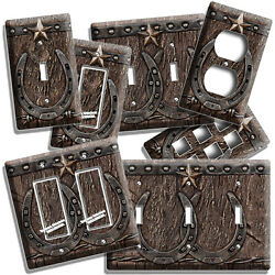 RUSTIC WESTERN COWBOY LONE STAR LUCKY HORSESHOE LIGHT SWITCH OUTLET WALL DECOR $10.99