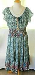 MLLE GABRIELLE Size XL Blue & Pink Scoop Neck Tiered Skirt Lined Boho Dress $9.90