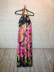 Vintage Deweese Design Swim And Sun Fashions Halter Maxi Dress Sta-cup Floral $58.00