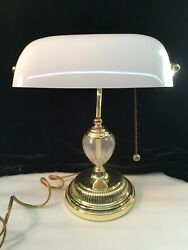 Bankers Desk Lamp White Glass Adjustable Shade wBrass Base & Globe Accent $34.99