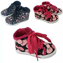 Baby Toddler Girls Canvas High Top Lace Up Shoes Zipper Walking Sneaker Size $13.66