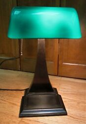 AMRONLITE Arts & Crafts Bankers Desk Lamp Emeralite Shade both Signed Dated 1917 $460.00