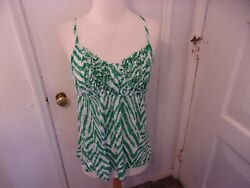 INC INTERNATIONAL CONCEPTS TOP-SIZE MED-GREEN-WHITE-SPAGHETTI STRAPS
