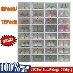 6/12 Pack Shoe Box Organizer Stackable Storage Case Durable Plastic Foldable New $23.99