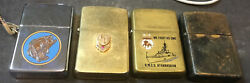 Vintage Zippo Lighters - 4 Pc. Lot 1970's & 80's - Fishing Athabaskan Gold Plate $80.00