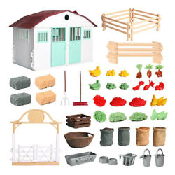 Crafts DIY Farm Model Miniatures House Fruits Fence Building Kits Playset $66.16
