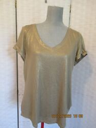White House Black Market Gold Shimmering Blouse Top Large NWT NEW $20.00