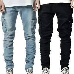 Mens High Waisted Slim Fit Stretch Denim Pants Jeans Cargo Work Pockets Trousers $32.67