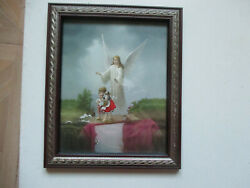 Vintage Guardian Angel Watching Over Children On Bridge Religious Framed Print $25.00