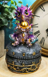 Purple Baby Wyrmling Dragon Holding Egg Decorative Kitchen Timer Figurine 60 Min $22.99