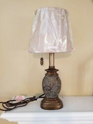 Gold Scroll Mini Lamp with Oval Bell Lampshade in Geneva Taupe Fabric $39.75