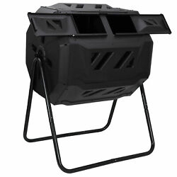 43 Gallon Dual Chambers Composting Tumbler Outdoor Gardening Large Compost Bin $61.89