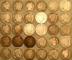 1901—1916 LOT OF BARBER LIBERTY HEAD 90% SILVER DIMES SCARCE TOUGH TO FIND COINS