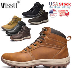 Men#x27;s Waterproof Leather Hiking Work Shoes Outdoor Water Boots Ankle Shoes 2021 $38.99