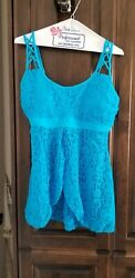 NEW BEACH BUNNY 2 PIECE LADY LACE SKIRTED Sz L14 SOFT BABY BLUE BATHING SUIT $39.95
