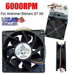 Cooling Fan Replacement 6000RPM 4 pin Connector For Antminer Bitmain S7 S9 $11.39