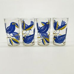 4 Vintage Mid Century Bluebird On Branch Drinking Glass Printed Tumblers 8 oz $35.00