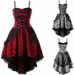 US Plus Size Womens Steampunk Lace Up High Low Lace Evening Corset Gothic Dress