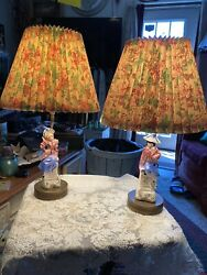 Pair Vintage Lamps Porcelain Colonial Man amp; Woman Brass Base 12quot; W shades $75.00
