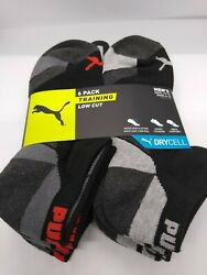 Puma Men Socks 6 Pairs Pack Training Low Cut SZ 10 13 SHOE SZ 6 12 Black Gray $14.99