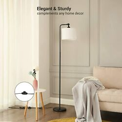 DEWENWILS 63 inch Black Floor Lamp with White Shade Adjustable Lampshade HLFL04A $45.99