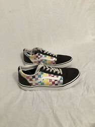 Vans Off The Wall Girls Kids Size 4.5 Black And Rainbow Checkered $20.00