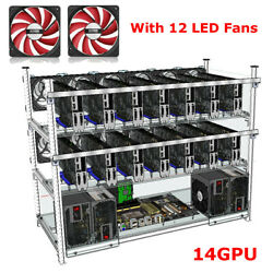 14 GPU Open Air Frame Mining Rig Stackable Case ETH ZCash W 12 LED Fan Aluminum $88.87