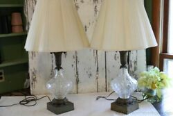 Pair Antique Lamps Glass Crystal Centers Bronzed Metal Acanthus Leaf Square Base $95.00
