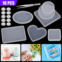 Silicone Coasters Pendant Jewelry Mold Resin Casting Mould DIY Epoxy Making Tool $11.97