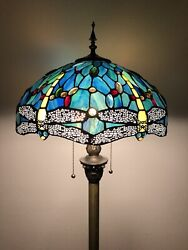 """Enjoy Tiffany Style Floor Lamp Dragonfly Green Blue Stained Glass Antique 64""""H $199.99"""