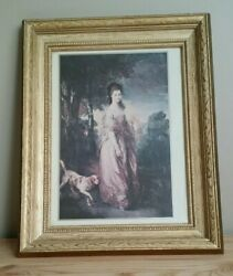 Victorian Oil Painting Print Woman with Russell Terrier 12#x27; x 15quot; w Frame $100.00