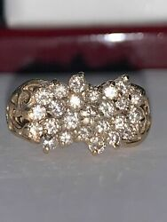 Antique Estate 14K Yellow Gold Over 1.00Ct Diamond Cluster Cocktail Women#x27;s Ring $111.99