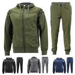 Men#x27;s 2 Pcs Casual Working Out Jogging Hooded Running Gym Fitness Tracksuit Set $36.99