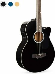 Electric Acoustic Bass Guitar Black Solid Wood Construction w Equalizer $129.00