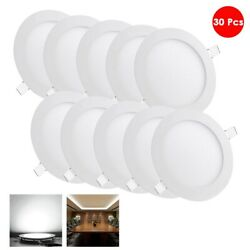 30x 9W LED Recessed Ceiling Panel Light Round Modern Lighting Fixture Cool White $136.90