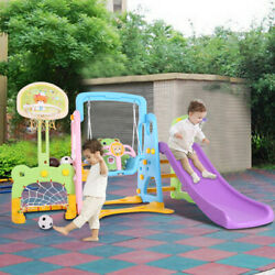 5 In 1 Kids Indoor And Outdoor Slide Swing And Basketball Football Baseball Set $229.88
