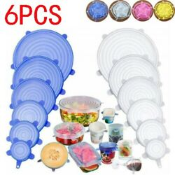 6 Pcs Silicone Stretch Lids Food Storage Wraps Covers Seal Fresh Reusable USA $3.69
