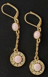 Givenchy Vintage Pink amp; White Crystal Dangle Earrings Leverback great condition $75.24