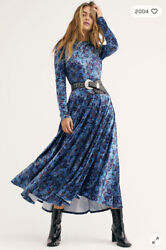 NEW FREE PEOPLE HEARTLAND CRUSHED VELVET MAXI DRESS SIZE LARGE BLUE FLORAL $125.80