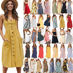 Womens Strappy Midi Dress Summer Holiday Beach Casual Button Swing Sun Dresses $17.00