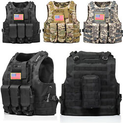 HUNTVP Military Tactical Vest Molle Combat Assault Plate Carrier w without Flag $31.34