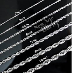 Stainless Steel Rope Chain Silver 16quot; 30quot; Men Women Necklace 2 3 4 5 7 9 10mm $8.45
