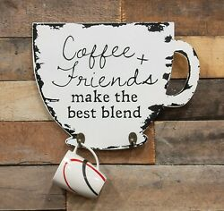 Black White Kitchen COFFEE amp; Friends Wall SIGN Hanging Mug Cup Hooks Home Decor $21.59