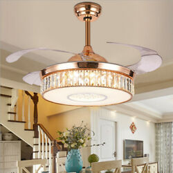 42quot; Crystal LED 3 Color Chandeliers Modern Invisible Ceiling Fan Lamp w Remote $179.51