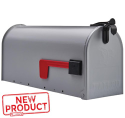Post Mount Mailbox Medium Steel Heavy Duty Curbside Storage Postal Box Gray NEW $14.23
