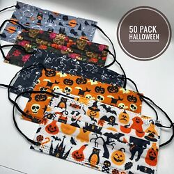 50 PACK Adult Halloween Holiday Face Mask Lot Skulls Pumpkins Witches $18.20