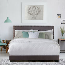 Queen Size Upholstered Bed Frame With Wood Slat Platform Headboard Nailhead Trim $136.91