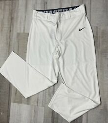 Nike Dri Fit Baseball Men Pants White Large Lights Out Stretch Zip Elastic Wais