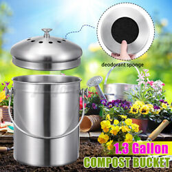 1.3 Gallon Stainless Steel Compost Bin Bucket Activated Carbon Sponges Filter 5L $31.48