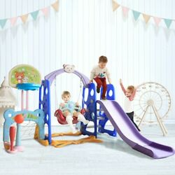 6 In 1 Kids Indoor And Outdoor Slide Swing And Basketball Football Baseball Set $152.88